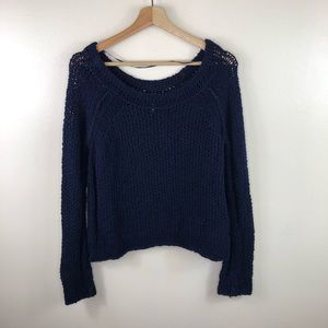 Free people dark blue knit crewneck sweater small